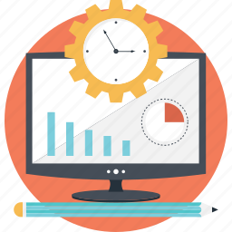 cog, graph, monitor, planning, project management icon
