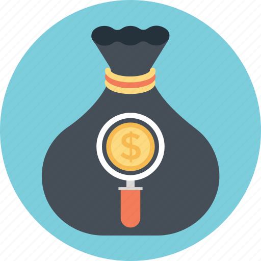 graph, investment, money, sack, search icon