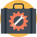 briefcase, cogwheel, portfolio, spanner, technical support icon