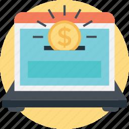 box, coin, funding platform, laptop, saving icon