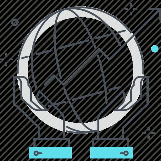 finance, globe, hand, international, service, world icon