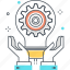 cog, development, gear, hand, lamp, light icon
