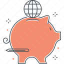 bank, globe, investment, pig, piggy, start up, world icon