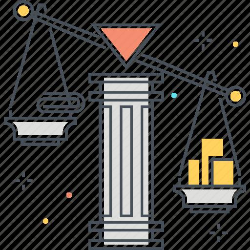 debt, money, scale icon
