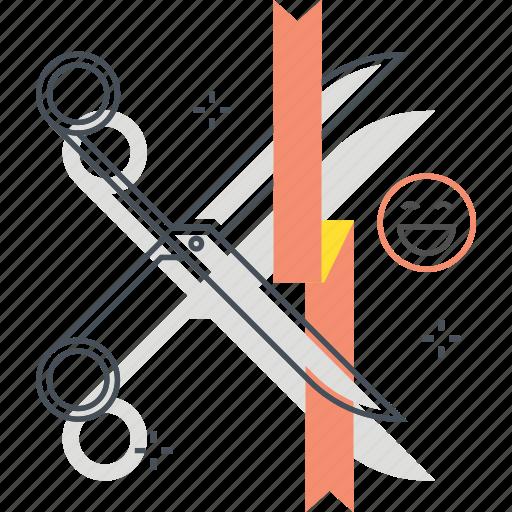 event, opening, rope, scissor icon