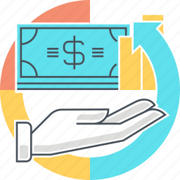 arrow, earnings, hand, investment, money, return icon