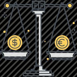 convert, dollar, euro, mony, scale, unit icon