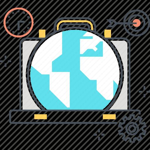 briefcase, global, portfolio, suitcase, work, world icon