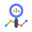 analytics, business, chart, growth, magnifier, statistics icon