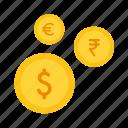 currency, dollar, euro, exchange, international, rupee icon