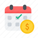 calendar, dollar, emi, installment, montly pay, payment icon