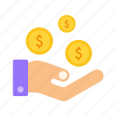 cash, dollars, donate, give, hand, returns icon