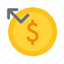 amount, bounce, cash, money, refund, revert icon