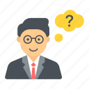 help, idea, question, think, thinking, thought, user icon