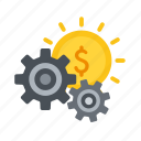 cash, earn, earnings, flow, gear, income, passive icon