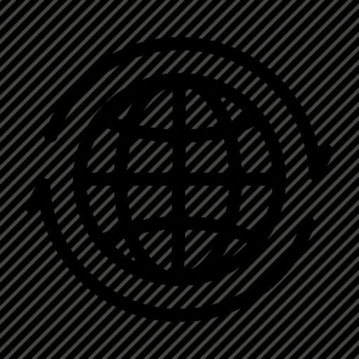 arrow, earth, global, globe, internet, network, world icon