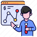 analysis, bukeicon, business, finance, graph, presentation icon