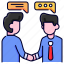 agreement, bukeicon, business, conversation, deal, discussion, financial icon