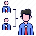 arrangements, bukeicon, employee, finance, hierarchy, management, organization icon
