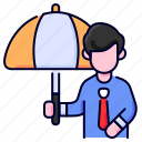 bukeicon, employee, insurance, people, protection, umbrella icon