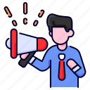 advertising, bukeicon, marketing, megaphone, online icon