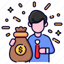 bukeicon, cash, currency, dollar, money, moneybag, sack icon