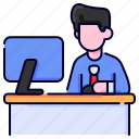 bukeicon, business, computer, finance, office, work, working icon