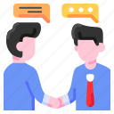 agreement, bukeicon, business, conversation, deal, discussion, financial
