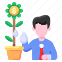 bukeicon, business, dollar, flower, growing, investment, money