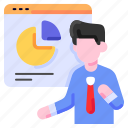 bukeicon, business, conference, financial, man, people, presentation icon