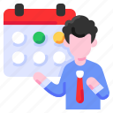bukeicon, calendar, date, schedule, time, withdrawal