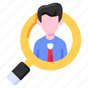 bukeicon, employee, employment, finance, recruitment, search icon