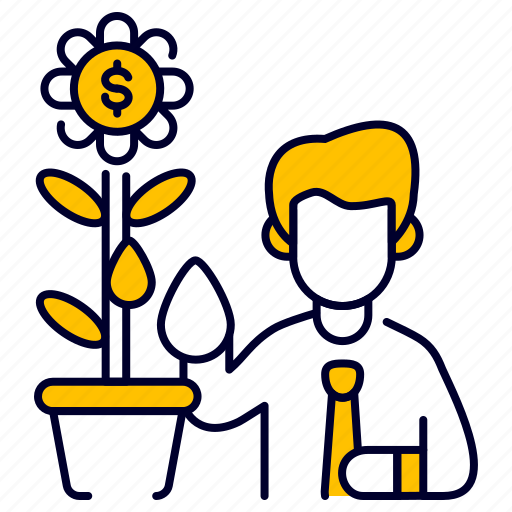 bukeicon, business, dollar, flower, growing, investment, money icon