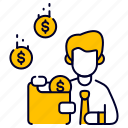 bukeicon, character, coin, dollar, finance, income, wallet icon