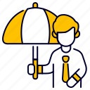bukeicon, employee, insurance, people, protection, umbrella icon
