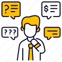 ask, bukeicon, business, finance, question, thinking icon