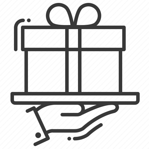 bonus, gift box, giving, hand icon