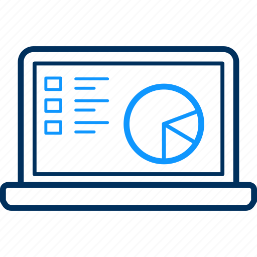 analytics, business, chart, graph, laptop, presentation icon
