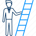 achievement, ladder, male, stairs, success icon