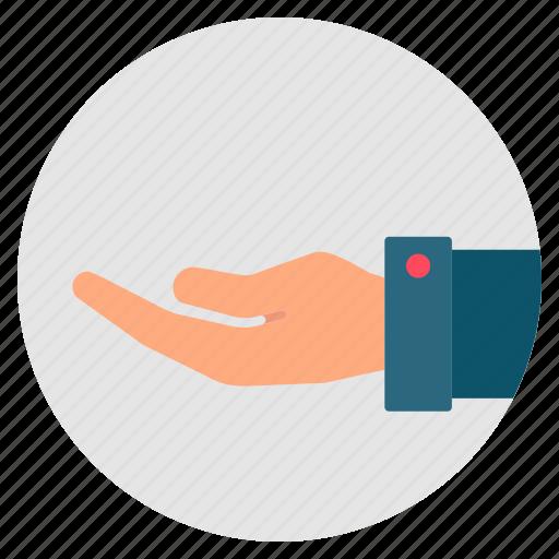 accept, beggar, gesture, hand, offer, palm icon