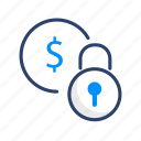 business, cash, dollar, finance, lock, money, payment icon