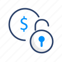 business, dollar, finance, lock, money, payment, security icon
