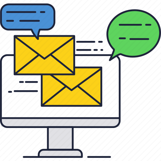computer, display, email, mail, messages, screen icon