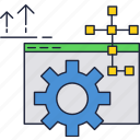 development, gear, internet, maintenance, support, website icon