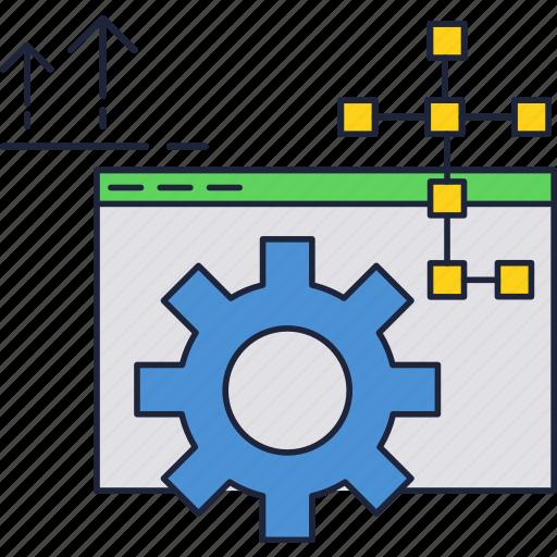 development, gear, internet, maintenance, support, website icon
