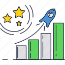 bars, business, chart, graph, growth, launch, rocket icon