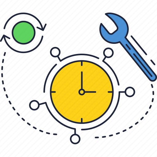 clock, refresh, timer, wrench icon