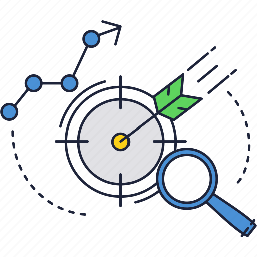arrow, chart, graph, magnifier, target icon