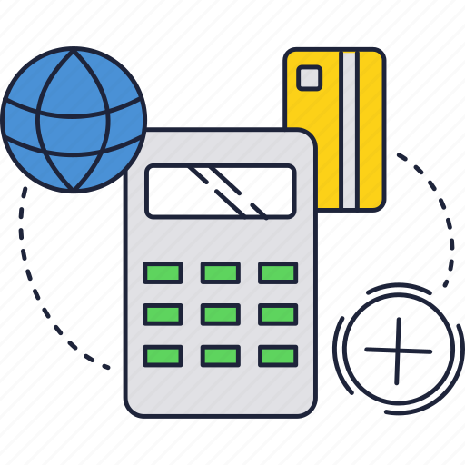 business, calc, card, credit, finance, globe, system icon