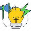 bulb, flash, light, lightning, loudspeaker icon
